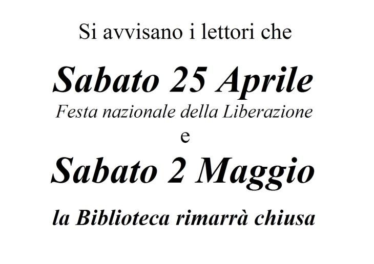 chiusura festa 25 aprile